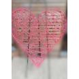 Location grand coeur en osier rotin rose 120cm