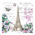 Serviettes thème Paris tour Eiffel papillon