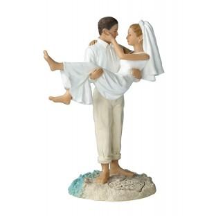 Figurine mariés plage île voyage décor gâteau