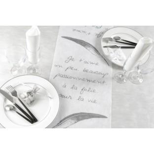 """Chemin de table """"Je t'aime"""" Amour, blanc"""