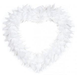 Courronne coeur en plumes blanc 38cm
