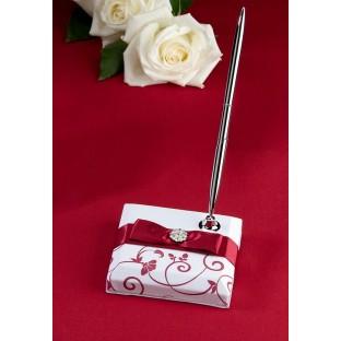 Porte-stylo Mariage, rouge et blanc
