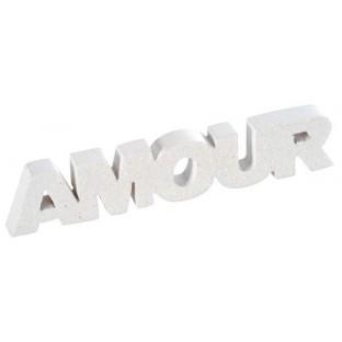 Lettres Amour, déco table blanc pailleté
