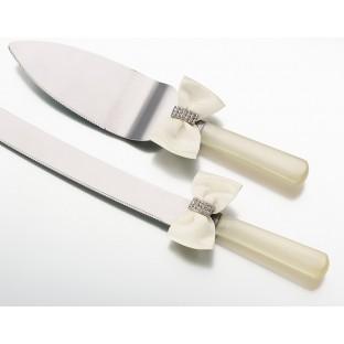 Rhinestone knife & server -ivory