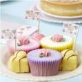 20 Piques drapeaux gâteaux vintage rose