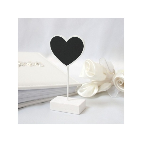 6 marque places ardoise coeur blanc d co table mariage. Black Bedroom Furniture Sets. Home Design Ideas