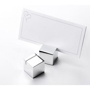 Marque place design cube argent porte menu