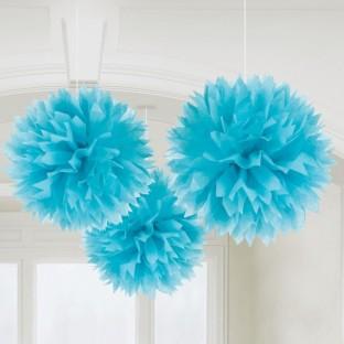 Deco 3 pompons en papier bleu turquoise