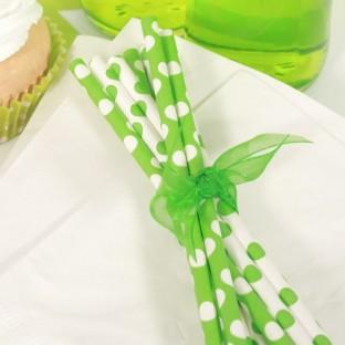 Pailles décoratives à pois, vert et blanc