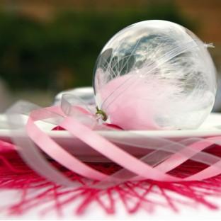 5 boules déco transparentes plexi 6 cm
