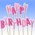 Bougies Happy Birthday rose decor gâteau