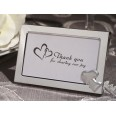 Cadre double coeurs argent table mariage