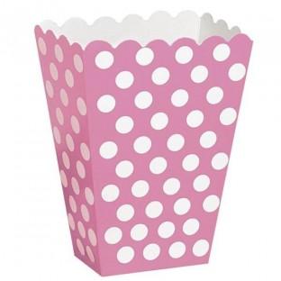 Pots à popcorn rose à pois blanc (x8)