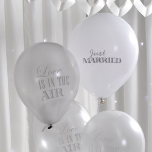 8 ballons mariage Just Married love is in the air