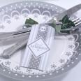 10 grandes etiquettes Just Married gris blanc