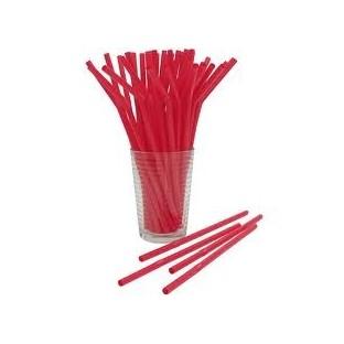 Pailles unies flexibles, rouge (x50)