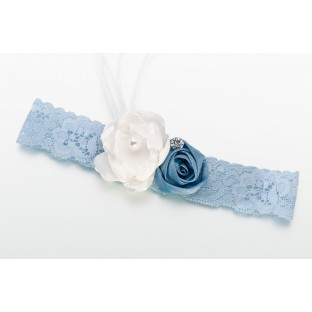 Jarretière mariage vintage bleu dentelle