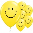 5 Ballons Smiley jaune latex 28cm