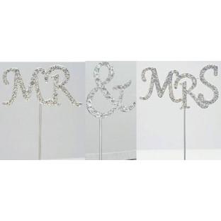 3 piques à gâteau mariage Mrs & Mrs Cake topper