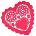 12 grands napperons en papier coeur rouge