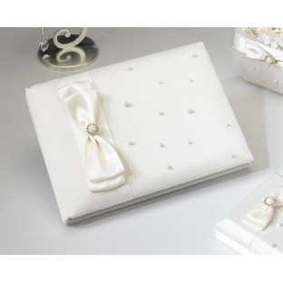 Livre d'or mariage perles, ivoire