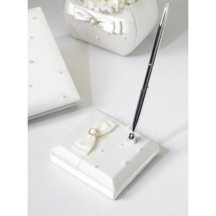 Porte stylo mariage perles, ivoire