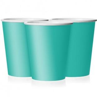 8 verre gobelet carton turquoise