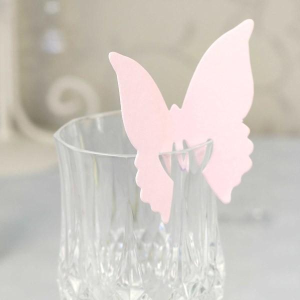 Marque place papillon nominette verre rose d co table - Place des verres a table ...