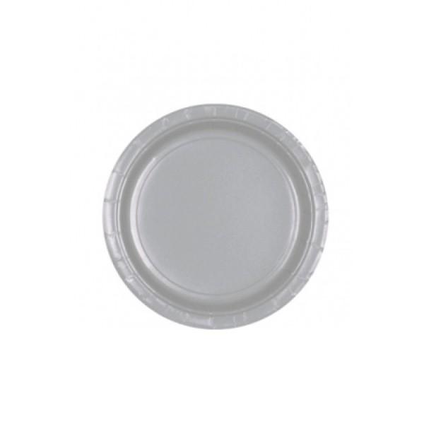 8 petites assiettes carton gris argent vaisselle jetable. Black Bedroom Furniture Sets. Home Design Ideas