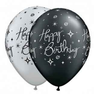 5 ballons qualatex happy birthday noir argent joyeux anniversaire creative emotions. Black Bedroom Furniture Sets. Home Design Ideas