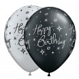 5 ballons qualatex Happy Birthday, noir argent
