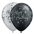 5 ballons qualatex Happy Birthday, noir argent