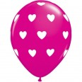 Ballons latex coeur rose fuchsia (x 5)
