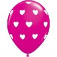 Ballons latex coeur rose fuchsia (x 5)