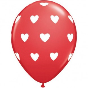 Ballons latex rouge coeurs blanc (x 5)