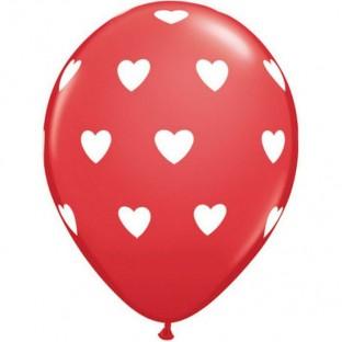 Ballons latex rouge coeurs blanc (x 5)