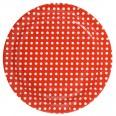 10 assiettes carton rouge pois blanc