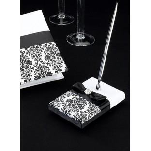 Porte-stylo Mariage, noir blanc damassé