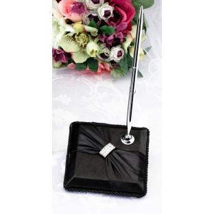 Porte-stylo satin noir strass diamant
