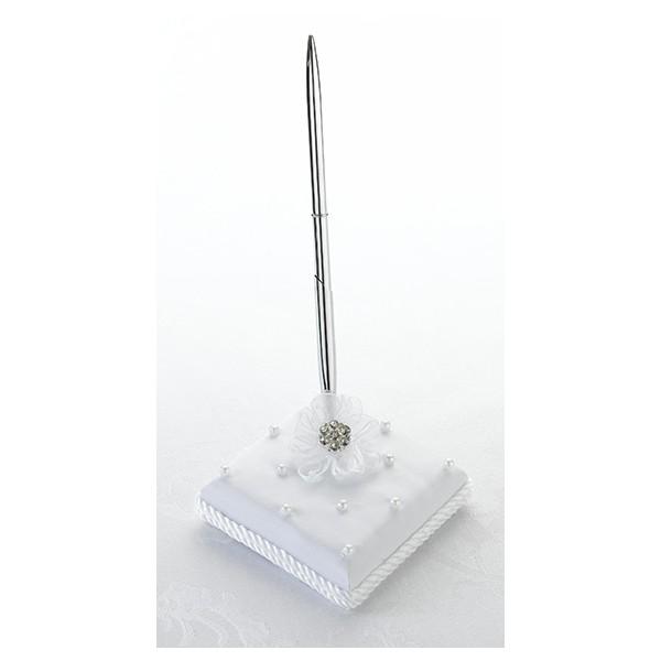 porte stylo mariage perles fleur blanc livre d 39 or et stylo creative emotions. Black Bedroom Furniture Sets. Home Design Ideas