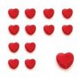 Confettis perles diamant coeur rouge