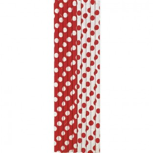 Pailles décoratives à pois, rouge et blanc