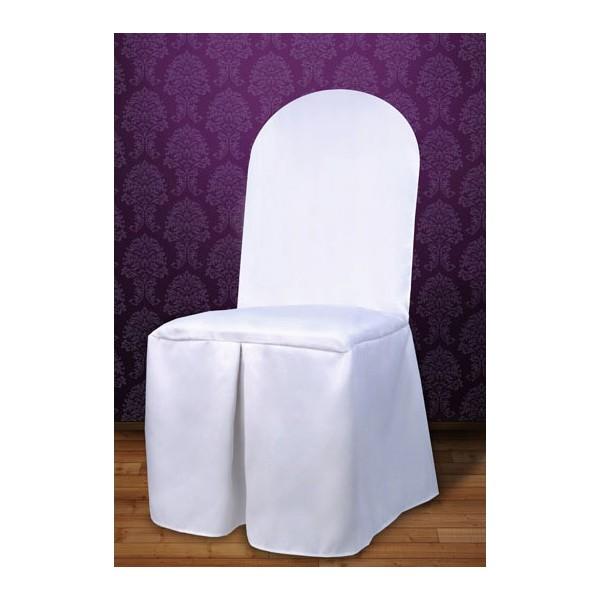 Housse de chaise en tissu blanc mariage housses et for Housse de chaise dossier arrondi