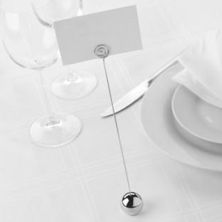 Les 6 Porte nom numéro de table mariage boule argent design