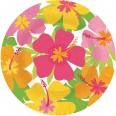 8 grandes assiettes carton deco exotique fleurs tropicales