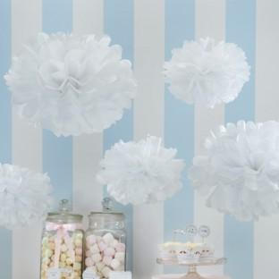 5 pompons boules en papier blanc DIY