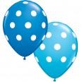 5 ballons latex bleu à pois bleus