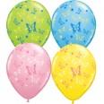 6 ballons multicolores thème papillons