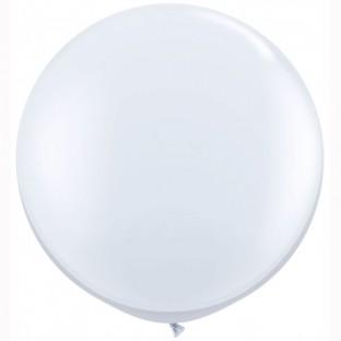 Ballon g ant rond blanc 1 m tre ballons mariage - Gonfler ballon sans helium ...