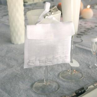 6 pochettes cadeau en lin blanc